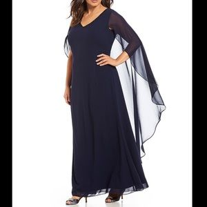 Cachet Beaded V-Neck Cape Gown Dress
